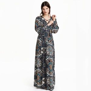 H&M Navy Blue Paisley Printed Lace Up Maxi Dress